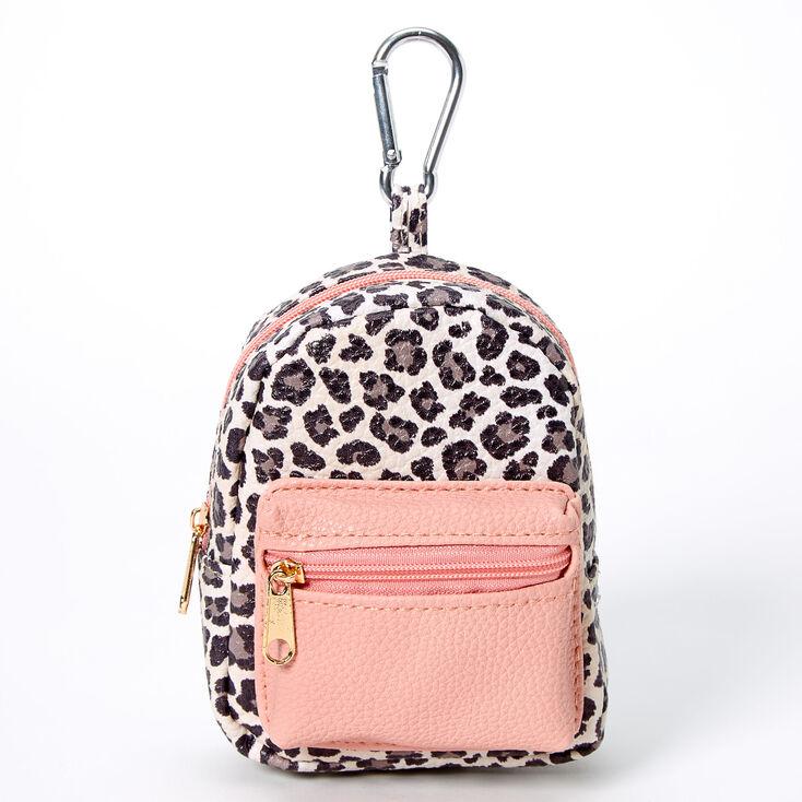 Blush Leopard Mini Backpack Keychain,