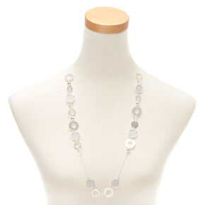 Silver Disk Long Necklace,