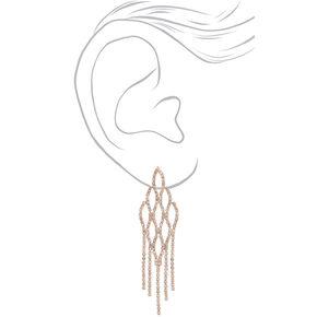 "3.5"" Rose Gold Fish Scale Rhinestone Drop Earrings,"
