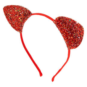 Iridescent Glitter Cat Ears Headband - Red 98a9b2742e63