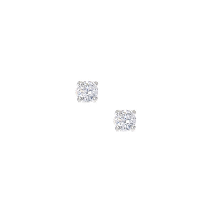 Round 3MM Cubic Zirconia Sterling Silver Stud Earrings,