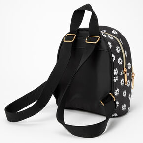 Daisy Flower Small Backpack - Black,