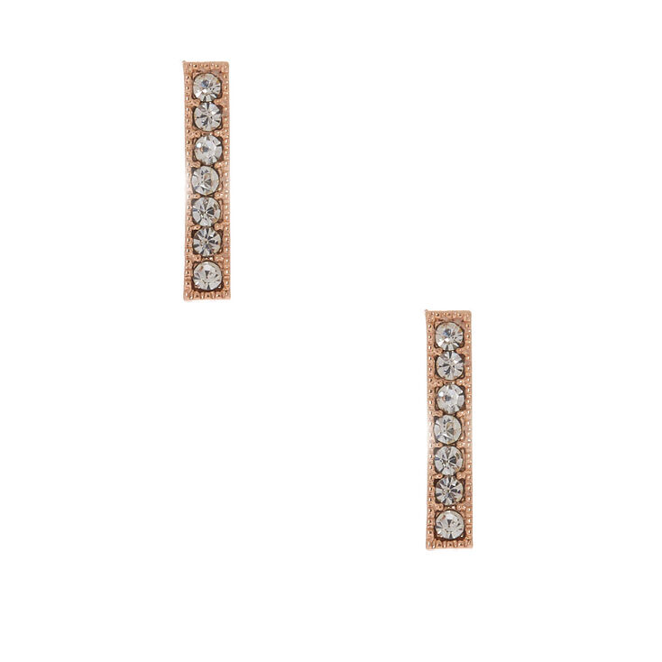 Rose Gold Crystal Bar Stud Earrings,