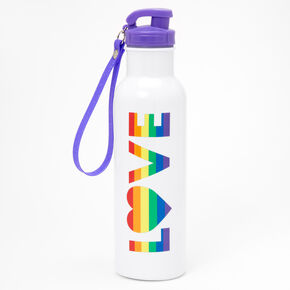 Love Rainbow Striped Water Bottle - White,