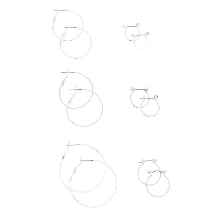 6 Pack Silver-Tone Hoop Earrings Set,