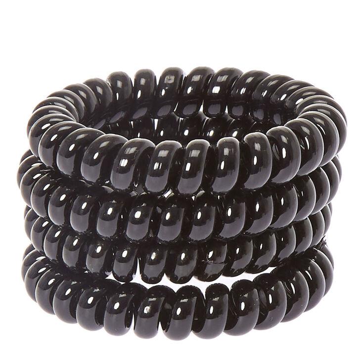 Spiral Hair Ties - Black, 4 Pack,