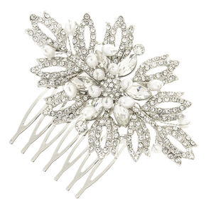 Silver Tone  Faux Crystal Pearl Bead Cluster Leaves Hair Comb,