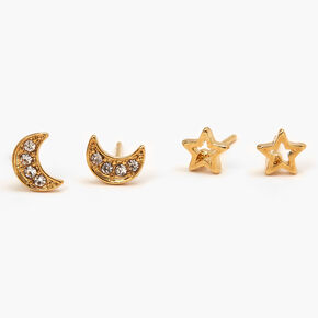 18kt Gold Plated Celestial Stud Earrings - 2 Pack,