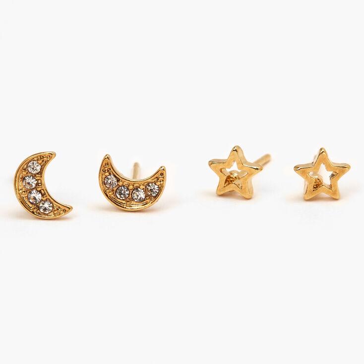 18kt Gold Plated Celestial Stud Earrings - 2 Pack,