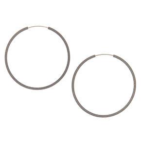 Hematite Hoop Earrings - 40MM,