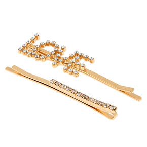 Gold Love Crystal Hair Pins - 2 Pack,