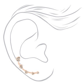 "Rose Gold 1"" Crystal Heart Ear Crawler Earrings,"