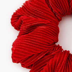 Medium Ribbed Shimmer Hair Scrunchie - Red,