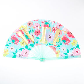 WTF Floral Oversized Folding Fan - Mint,