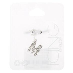Silver Embellished Initial Bracelet Charm - M,