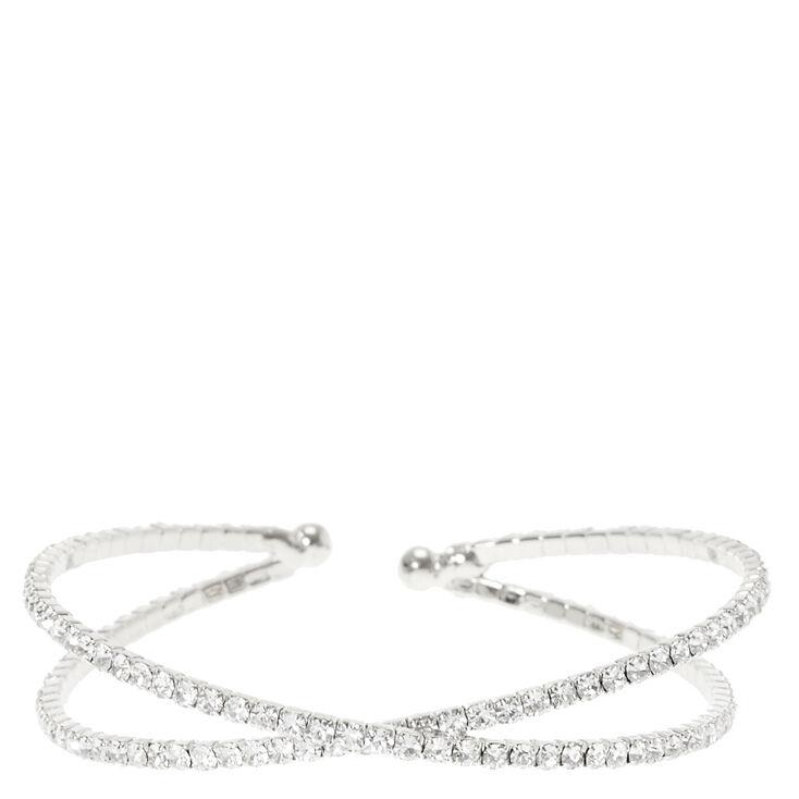 Silver Rhinestone Criss Cross Bracelet,