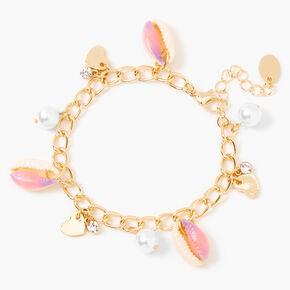 Pink Tie Dye Cowrie Shell Charm Bracelet - Gold,