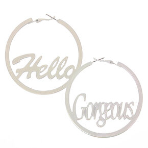 60MM White Iridescent Hello Gorgeous Hoop Earrings,