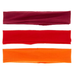 Sunset Mix Wide Jersey Headwraps - Red, 3 Pack,