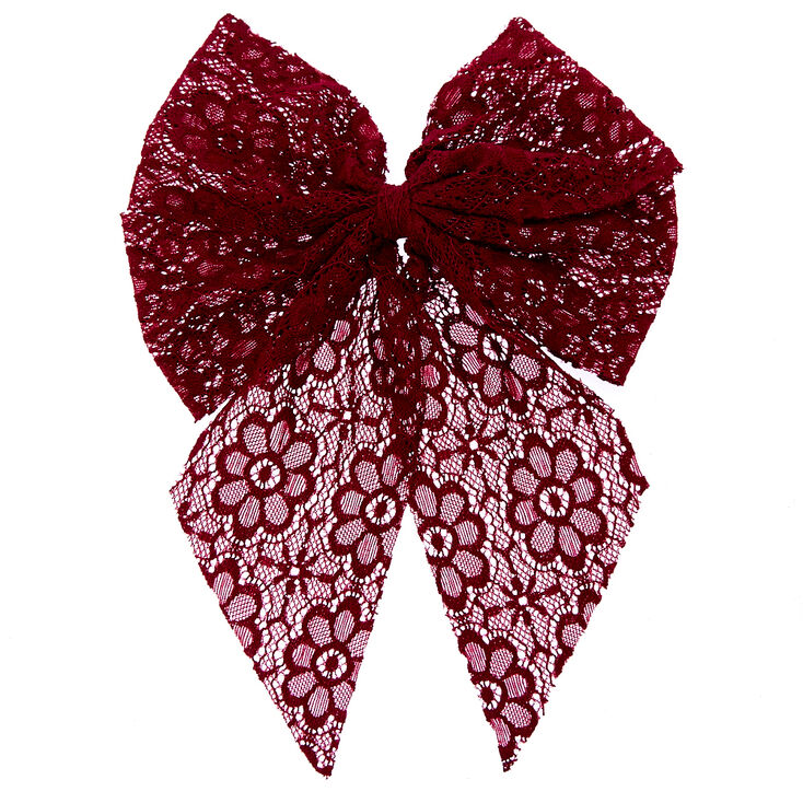 Burgundy Lace Jumbo Tail Hair Bow,