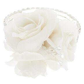 Silver Rhinestone Corsage - White,