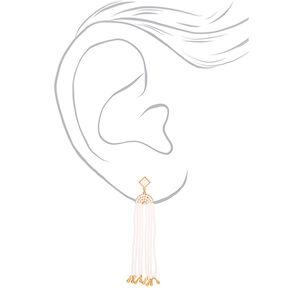 """Gold 3.5"""" Bead Drop Earrings - White,"""