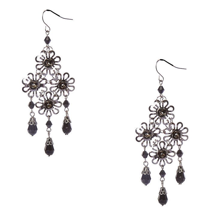 Metal Carve Roses & Black Bead Drop Earrings,