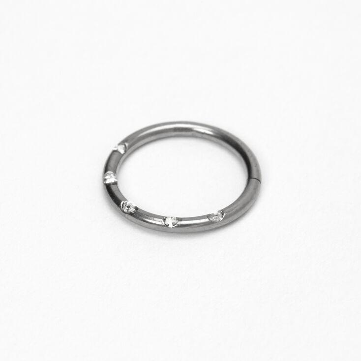 Silver Titanium 16G Studded Cartilage Hoop Earring,