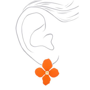 "Gold 2"" Flower Drop Earrings - Orange,"
