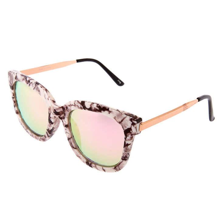 Marble Mirrored Square Sunglasses,