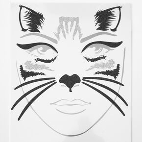 Cat Face Tattoos - Black,