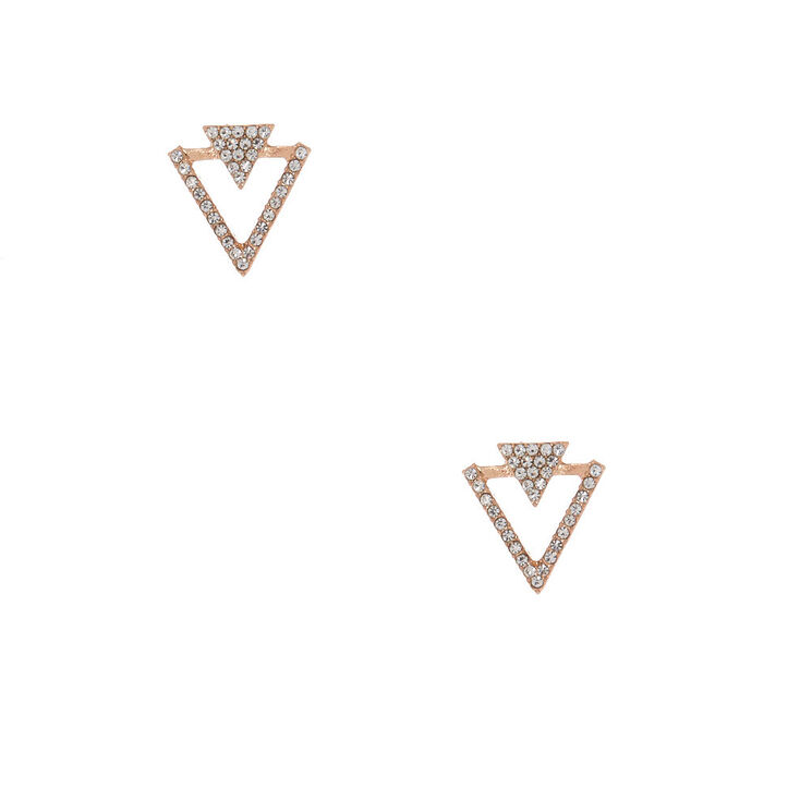 Rose Gold Crystal Double Triangle Stud Earrings,
