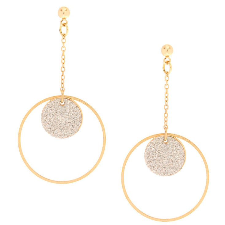 Gold-Tone & Glitter Circle Drop Earrings,