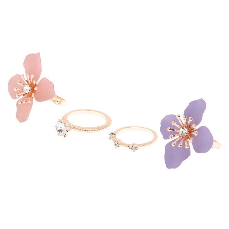 Gold Petal Power Rings - 4 Pack,