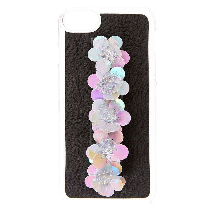 Holographic Sequin Flower Handle Phone Case,