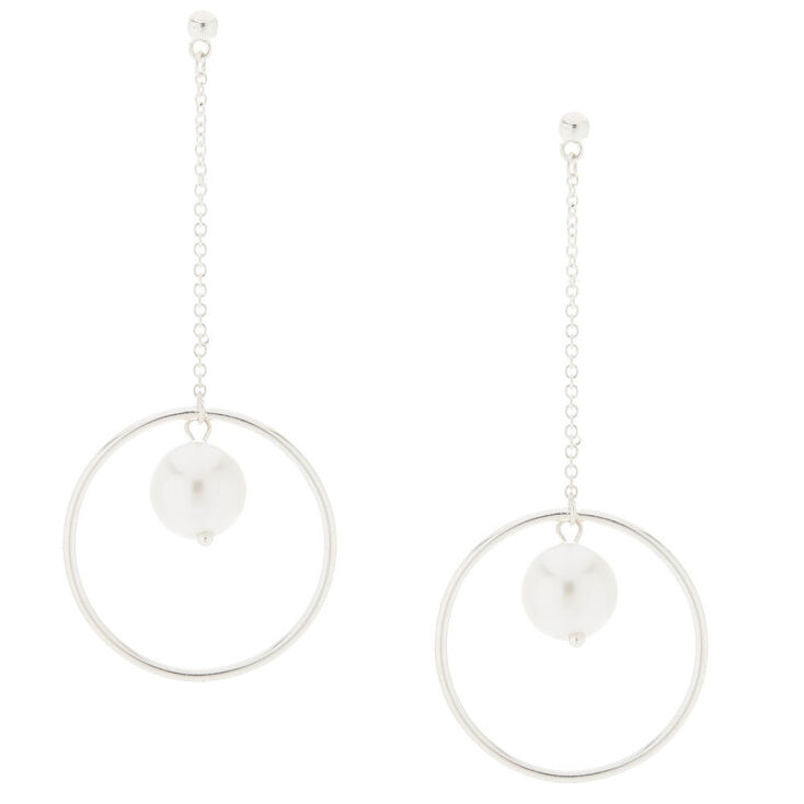 Silver Circle And Pearl Drop Earrings,