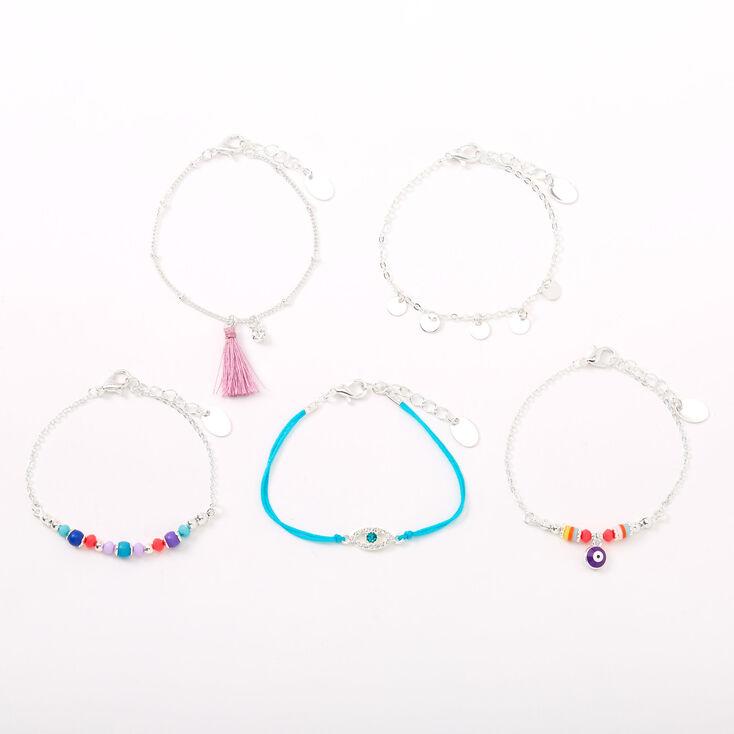 Bright Evil Eye Chain Bracelets - 5 Pack,