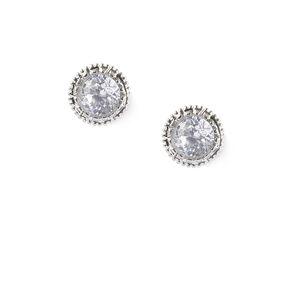 Silver Cubic Zirconia 5MM Round Vintage Stud Earrings,