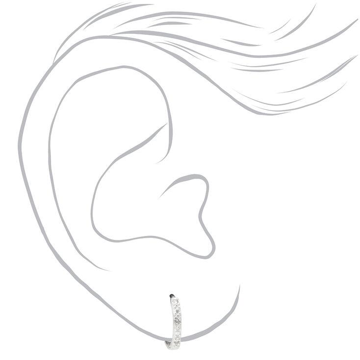 Sterling Silver 10MM Cubic Zirconia Textured Huggie Hoop Earrings,