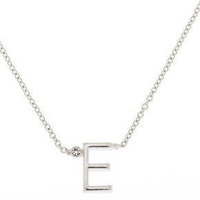 Silver Initial Necklace - E,