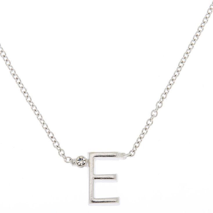 Silver Initial Necklace - E,