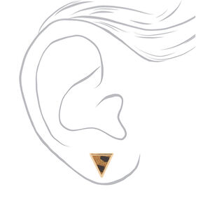 Gold Leopard Print Triangle Stud Earrings,