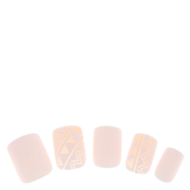 White & Nude Geometric Instant Nails,