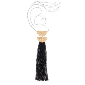 "4"" Tassel Drop Earrings - Black,"