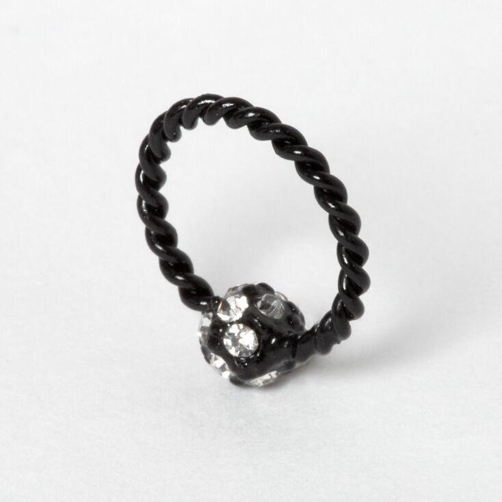 16G Fireball Twisted Helix Hoop Earring - Black,