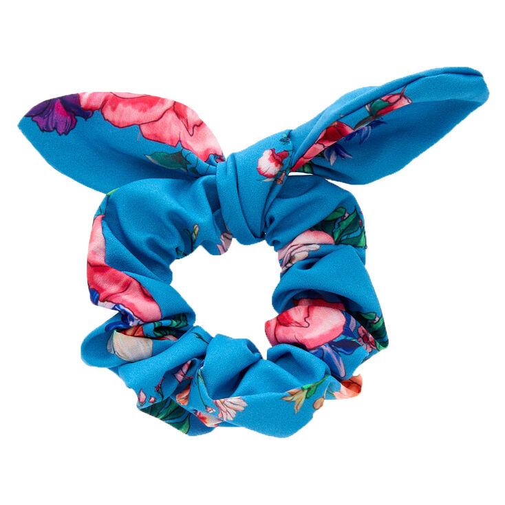 Rose Print Bow Hair Scrunchie - Blue,