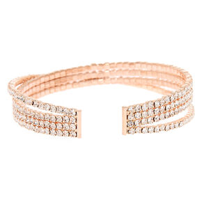 Rose Gold Glass Rhinestone Criss Cross Cuff Bracelet,