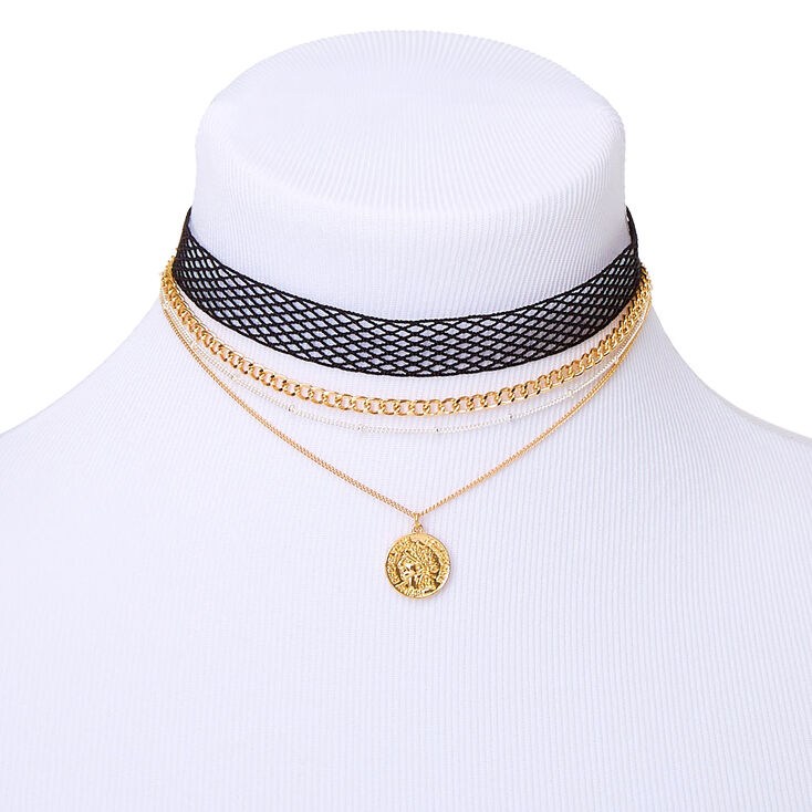 Gold Fishnet Coin Choker Necklaces - 4 Pack,
