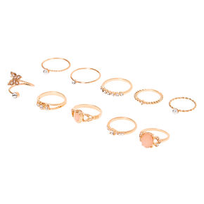 Gold Embellished Romantic Rings - 10 Pack,