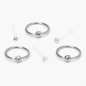Silver 20G Retainer Stud & Hoop Nose Rings - Clear, 6 Pack,